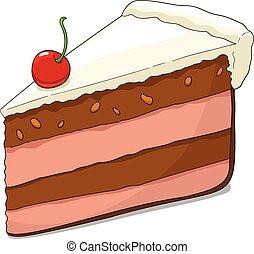 Un trozo de pastel con cereza