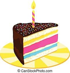 Un trozo de pastel de cumpleaños con velas