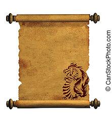 Un trozo de pergamino antiguo