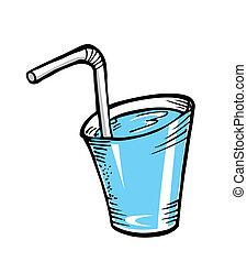 Un vaso de agua con paja