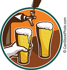 Un vaso de cerveza con mano de tap retro