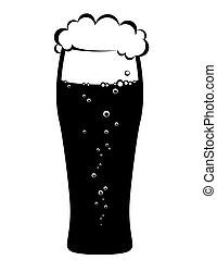 Un vaso de cerveza negro