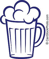 Un vaso de cerveza pintado