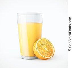 Un vaso de jugo de naranja con fruta