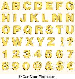 Un vector de letras doradas de alfabeto