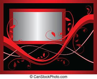 Un vector floral rojo que incorpora un marco plateado en un fondo negro. Hay lugar para el texto