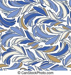 Un vector sin costura azul textura con plumas