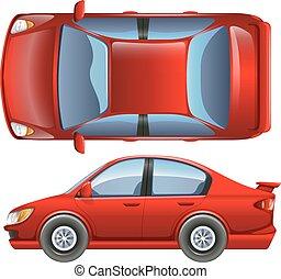 Un vehículo rojo