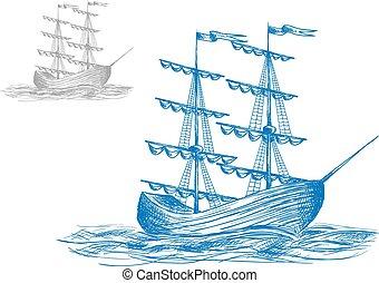 Un velero medieval en olas del océano