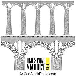 Un viaducto de piedra antiguo. Construido de piedra y ladrillos un puente enorme. Incluso los detalles más pequeños son visibles.