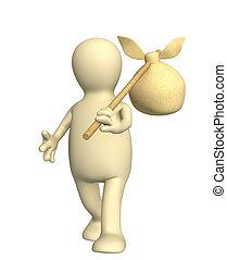 Un viajero de 3D, una marioneta, llevando una bolsa en un palo