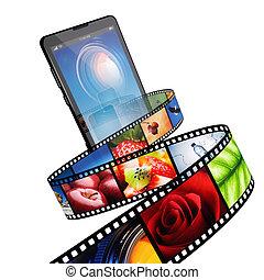 Un video con teléfono móvil moderno