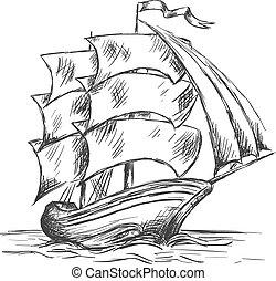 Un viejo barco bajo velas llenas en agua del océano
