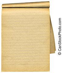 Un viejo cuaderno con páginas en blanco. Sobre blanco