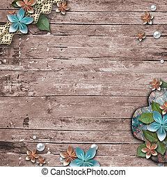 Un viejo fondo de madera con flores, perlas