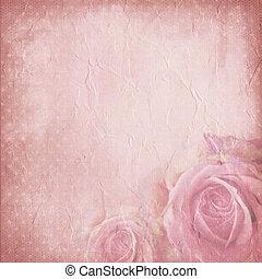 Un viejo fondo de papel con rosas