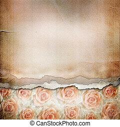 Un viejo fondo de papel roto. Textura con rosas