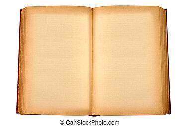 Un viejo libro con páginas amarillas en blanco