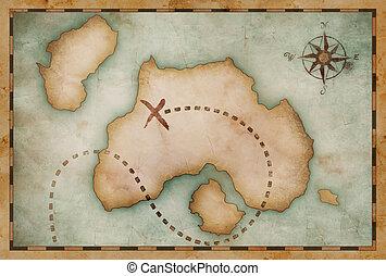 Un viejo mapa vintage del tesoro