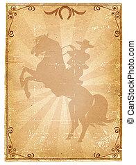 Un viejo póster de vaqueros de papel