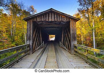 Un viejo puente cubierto en la temporada de otoño