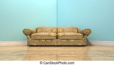 Un viejo sofá clásico en una habitación
