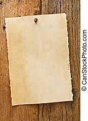 Un viejo y rústico letrero de vaquero en pergamino
