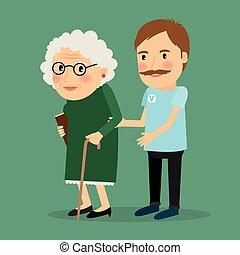 Un voluntario cuidando a una anciana