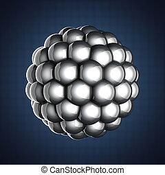 Una única ilustración científica de átomos