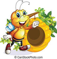 Una abeja cerca de la colmena