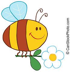 Una abeja feliz volando con flor