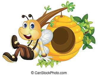Una abeja sentada junto a la colmena