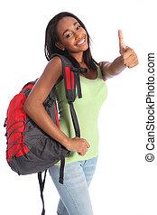 Una adolescente afroamericana feliz éxito