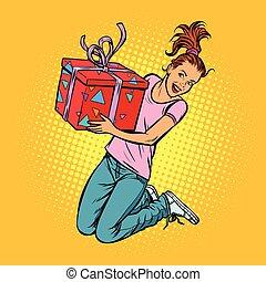 Una adolescente con un salto de alegría