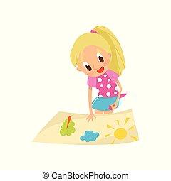 Una adorable niña rubia haciendo solicitud de papel con pegamento, educación y desarrollo infantil vector de vector de ilustración en un fondo blanco