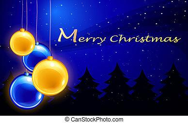 Una alegre plantilla de Navidad con cuatro pelotas