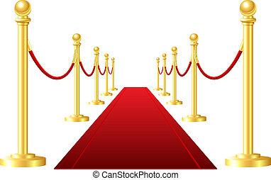 Una alfombra de evento rojo aislada en un fondo blanco