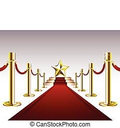 Una alfombra roja con una estrella dorada