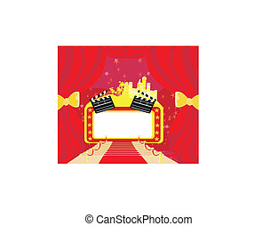 Una alfombra roja de Hollywood premier, una tarjeta abstracta, un marco de tablas