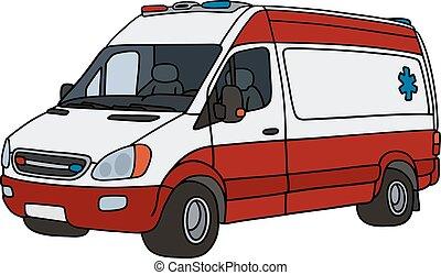 Una ambulancia roja y blanca