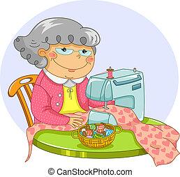 Una anciana cosiendo
