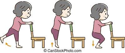 Una anciana haciendo ejercicio con una silla