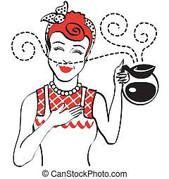 Una antigua cafetera de mamá de los años 50