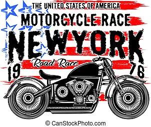 Una antigua camiseta de motocicleta gráfica