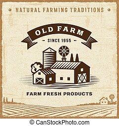 Una antigua etiqueta de granja