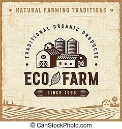 Una antigua etiqueta de granja ecológica