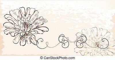 Una antigua invitación con flores.