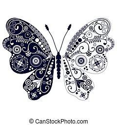 Una antigua mariposa de dos tonos sobre blanca