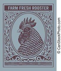 Una antigua tarjeta de gallo orgánico