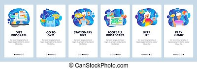 Una aplicación móvil a bordo. Fitness, dieta y estilo de vida saludable. Fútbol y fútbol. La plantilla de vectores de Menu para página web y desarrollo móvil. Diseño web de ilustraciones planas
